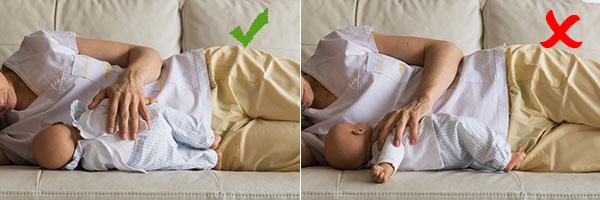 amamantar dar el pecho postura lactancia estirada